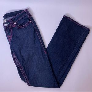 Like-New True Religion Bootcut Pink Stitched Jeans